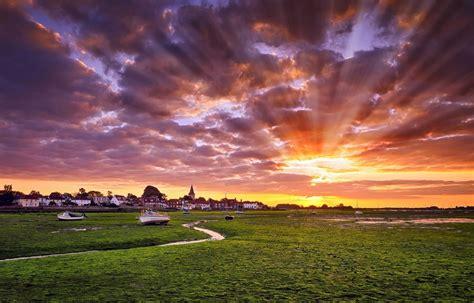 Nature Landscape Photography Sun Rays Town Sunset