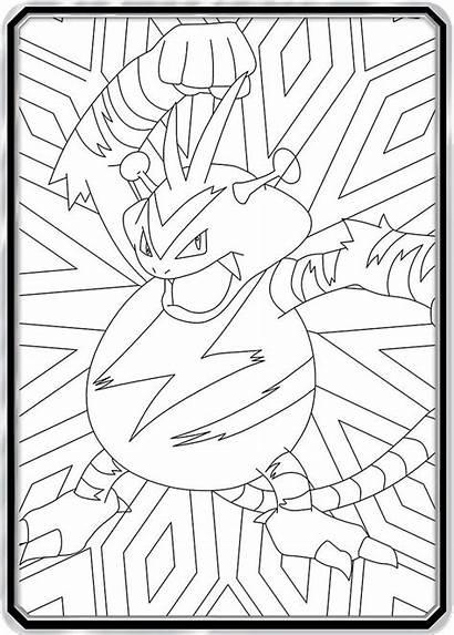 Pokemon Coloring Card Electabuzz Cards Zaba Colouring