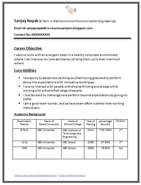 Resume Format For Freshers by B Tech Fresher Resume Sle 1 Career
