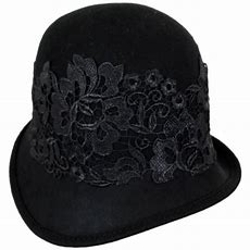 Callanan Hats Lace Band Wool Felt Cloche Hat Cloche