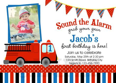 printable birthday party invitations fire truck fire