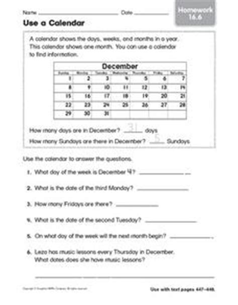 use a calendar homework 16 6 2nd 3rd grade worksheet lesson planet