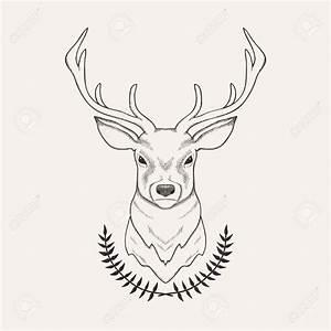 Vector Hand Drawn Illustration Of Deer And Laurel Royalty ...