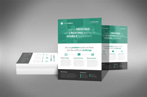 flat design corporate flyer flyer templates  creative market
