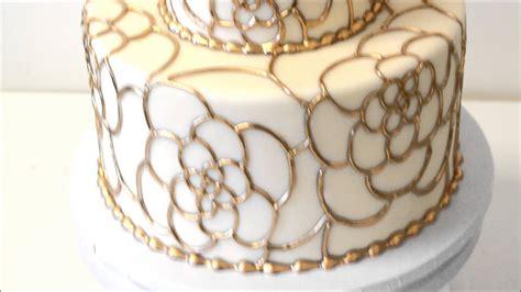 wedding cake   fondant icing  gold piping youtube