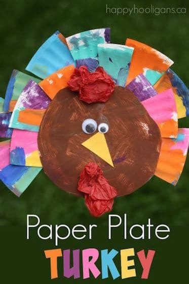 thanksgiving preschool crafts painted paper plate turkey craft happy hooligans 3075