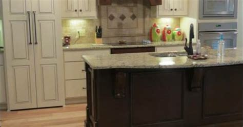 kitchens with small islands cabinets painted soft white mixed with cherry wood in a 6646