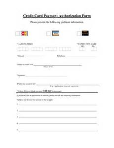 Blank Credit Card Authorization Form Template