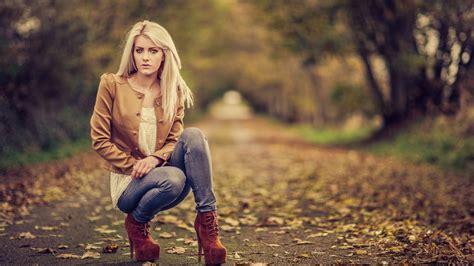 women blonde jeans wallpapers hd desktop  mobile