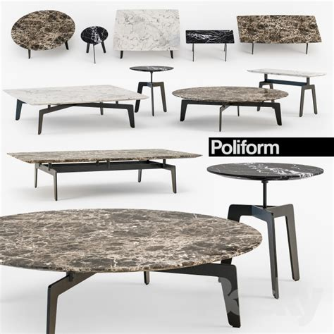 3 coffee table set 3d models table poliform tribeca coffee table set