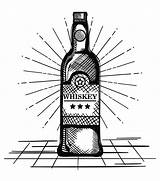 Whiskey Bottle Label Drawn Vector Alcohol sketch template