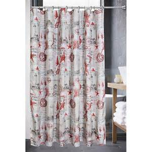 Nautical Themed Curtains by Sale Sail Away Red Nautical Theme Shower Curtain