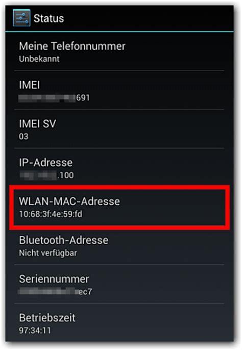 android mac adresse anzeigen techfrage