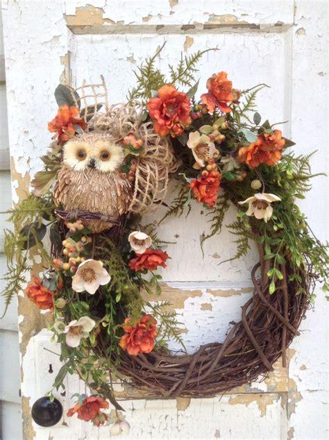 fall wreath  door fall owl wreath front door wreath