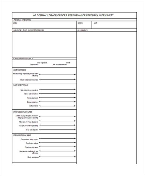 sample air force feedback forms   ms word