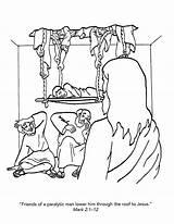 Coloring Pages Jesus Roof Paralyzed Healed Through Colorear Para Heals Enfermedad Lame Testimonios John Craft Matthew Printable Getcolorings Bible Luke sketch template
