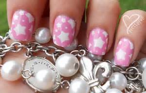 Super cute pink white star nail art design for short nails