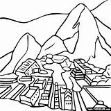 Machu Picchu Coloring Peru Pages Clipart Mount Pichu Drawing Thecolor Famous Fuji Llama Flag Sheets Peruvian Brazil Worksheets Inca Spanish sketch template