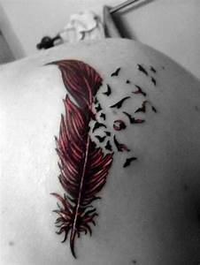 Birds Flying From Feather Tattoo On Back | Tattooshunt.com
