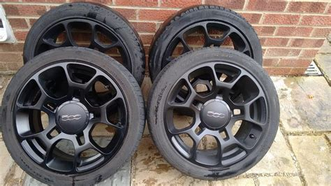Fiat Rims by Genuine Fiat 500 16 Inch Black Alloy Wheels With
