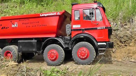 rc mercedes benz mb   work big rc truck mit viel power youtube