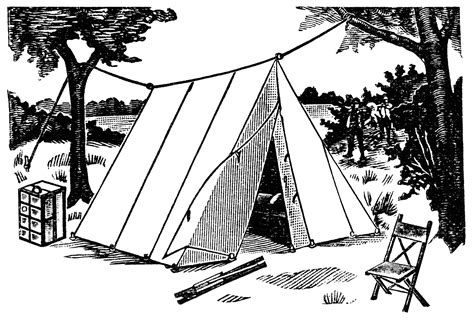 camping tent black  white clipart clipart suggest