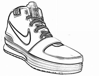 Nike Shoes Drawing Coloring Jordan Shoe Sketch