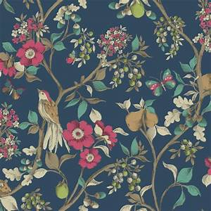 holden decor damsen floral pattern bird countryside With markise balkon mit vintage tapete floral