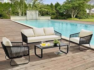 Salon de jardin ENVIGADO en métal et corde: canapé 3 places, 2 fauteuils et table basse noir encre