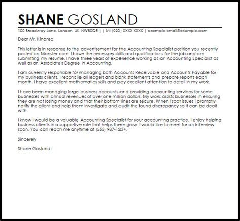 accounting specialist cover letter sample cover letter templates examples
