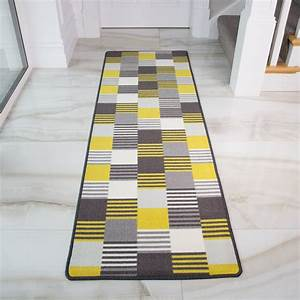 Ochre, Yellow, Geometric, Monochrome, Durable, Washable, Kitchen, Hallway, Runner, Rugs