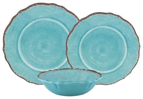 Piece Antiqua Triple Melamine Dinnerware Set, Turquoise