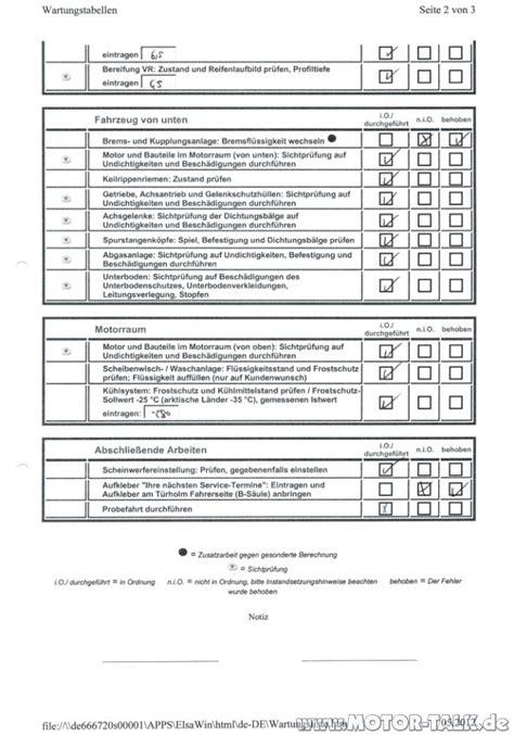 iinspektionservice wartungsliste  inspektion jahre