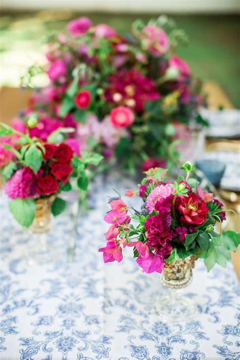 Vibrantly Beautiful Bougainvillea + Blue Spanish Wedding