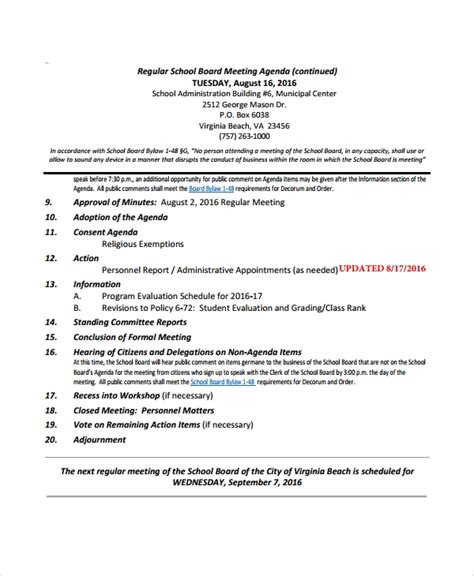 sample board meeting agenda templates   ms word