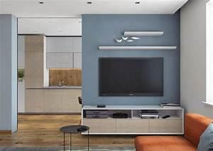 Peinture Bleu Ciel : d co salon couleur gris taupe dans le salon moderne peinture murale bleu ciel table basse ~ Melissatoandfro.com Idées de Décoration