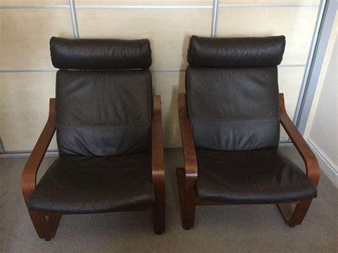 Ikea Poang Armchairs And Footstool For Sale. 2 Brown