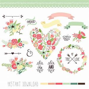 items similar to wedding floral clipart digital wreath With wedding invitation flower clipart free