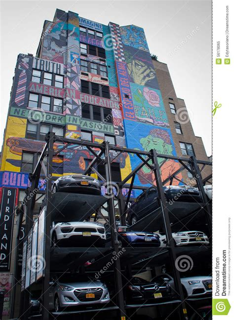 parking garage times square nyc new york city automated multi level outdoor car parking garage editorial image image 56178065