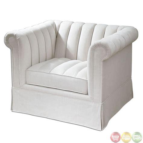 evania white linen upholstered tufted armchair 23155