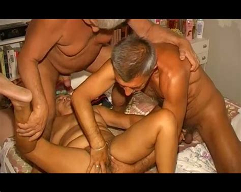 Two Old Grandpas Bang One Chunky Grandma In Threesome Sex