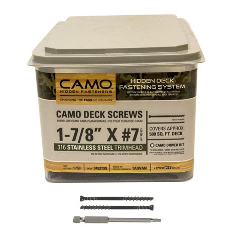 camo deck screws camo trimhead stainless steel deck screws 1 7 8 quot 1750 count