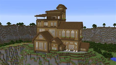 cliffside wooden mansion  mb map  minecraft
