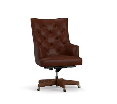 Office Chairs Pottery Barn by Radcliffe Tufted Leather Swivel Desk Chair Pottery Barn