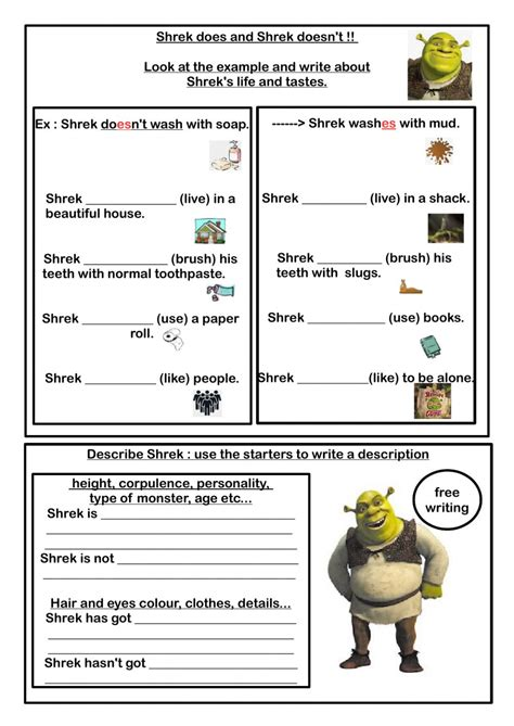shreks routine worksheet