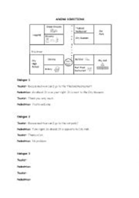 worksheets asking direction dialogues