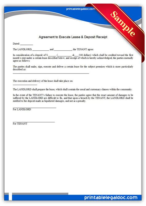legal receipts forms free printable agreement to execute lease deposit