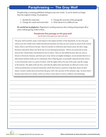 paraphrasing the gray wolf school tips tricks school worksheets middle school writing