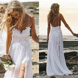 Spaghetti straps white lace chiffon backless beach wedding for Spaghetti strap beach wedding dress