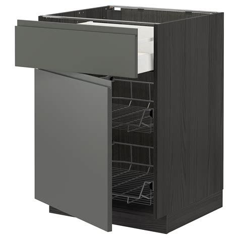 See more ideas about kitchen inspirations, ikea kitchen, kitchen interior. METOD/MAXIMERA - base cab w wire basket/drawer/door, black ...